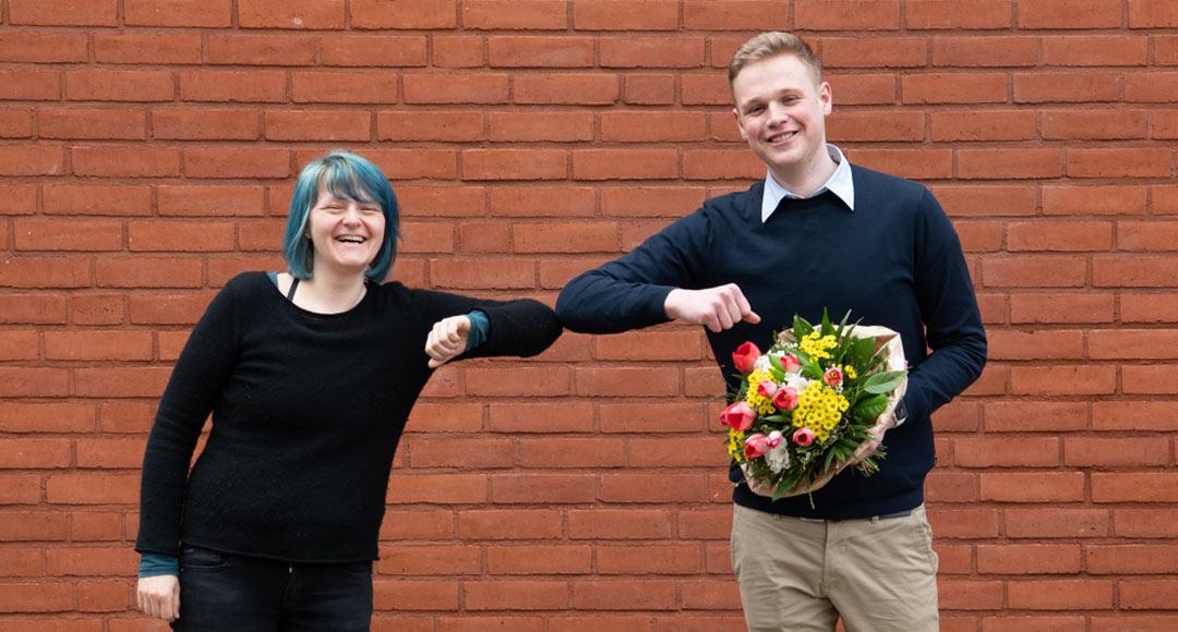 SPD Ortsvereinsvorsitzende Aline Langbartels und Bundestagskandidat Jakob Blankeburg