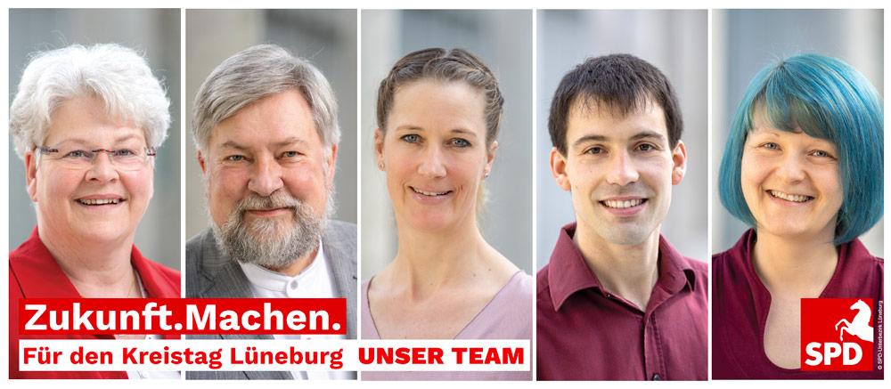 Kreistagskandidat:innen Silke Rogge, Achim Gründel, Frauke Ruff, Niklas Rüter und Aline Langbartels